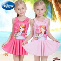 迪士尼女童连体防晒泳衣吊带女孩泳装裙式公主印花粉色儿童游泳衣