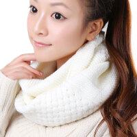 韩版潮毛线围巾围脖女秋冬天保暖白色长针织堆领圈圈套
