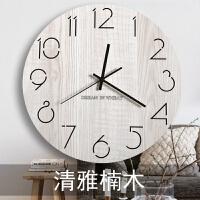挂钟客厅个性创意时尚现代简约静音圆形北欧艺术家用木质大气钟表