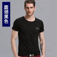 莫代尔棉T恤男士修身V领紧身背心白色运动打底衫居家汗衫 圆领-黑 色