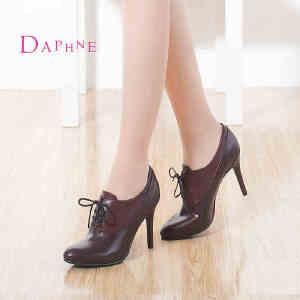 Daphne/达芙妮秋季简约女鞋 尖头深口高跟鞋细跟系带单鞋