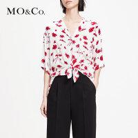 MOCO2019春季新品翻领碎花印花图案上衣MAI1TOP015 摩安珂