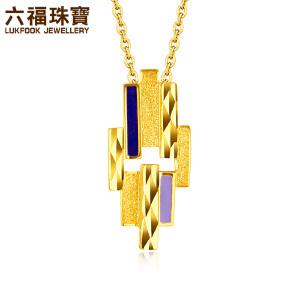 六福珠宝金饰魅力黄金项链吊坠女个性珐琅车花吊坠定价HXA1E70045