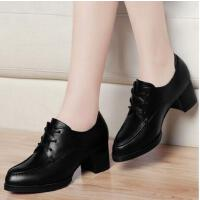 古奇天伦春季新款单鞋深口尖头韩版防水台系带女鞋高跟鞋粗跟ZK8139