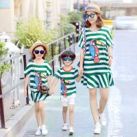 亲子装夏装全家装一家三口条纹卡通母女连衣裙套装母子