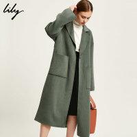 【超品日秒杀价339元】 Lily双面呢大衣新款OL撞色系带长款毛呢外套117449F1968