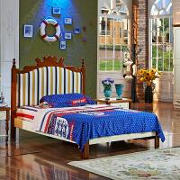 尚满 地中海系列新款卧室家具儿童床 板木组合单/双人床 1.2*1.9米(不含床垫)