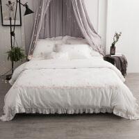 白色小清新棉床单四件套棉1.8米2米双人床樱花田园风绣花 樱花