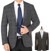 中年男装休闲西装秋冬男爸爸装单件上衣外套羊毛呢厚款西服中老年