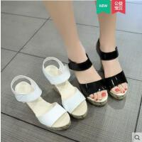 坡跟凉鞋女时尚百搭韩版抖音同款魔术贴厚底鞋舒适高跟仙女风女鞋