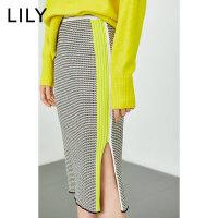 【折后价140元】LILY冬新款女装撞色荧光边开衩针织包臀裙半身裙119440B6305