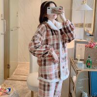 孕妇睡衣珊瑚绒女法兰绒加厚可爱秋冬季月子服11月份纯棉产后哺乳