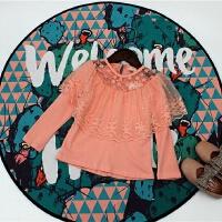 女童长袖T恤2018春装新款可爱蕾丝边套头上衣 圆领百搭甜美打底衫