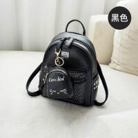 双肩包女韩版迷你小包包新款个性百搭可爱时尚妈咪包背包女潮y 黑色