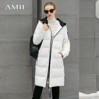 Amii极简休闲90白鸭绒羽绒服女2018冬新连帽飘带宽松保暖长款外套.
