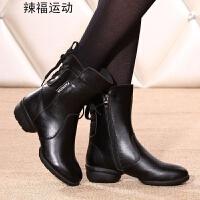 广场舞靴舞蹈鞋 现代舞跳舞鞋女士短靴软底拉丁舞增高舞鞋