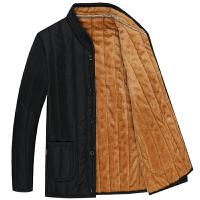 韩观中老年棉衣男士加绒加厚男装冬季中老人保暖爸爸装外套棉袄男 小棉袄