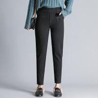 2017年冬季裤子粘胶街头维纶中腰哈伦裤九分裤加厚绑带 黑色