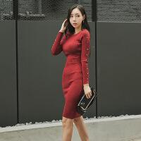 2017秋冬装新款修身显瘦针织连衣裙女圆领长袖中长 图色 均码