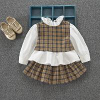 学院风女童格子套装时髦洋气拼接长袖上衣+半身裙宝宝百褶裙潮