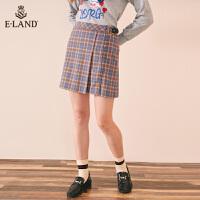 【2件3折价:161元】ELAND英伦学院风格子叠褶磨边绊带A字半身短裙包臀裙EEWH74954R