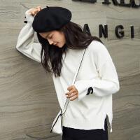 [2.5折价64.6元]唐狮秋冬女毛衣新款韩版套头宽松针织衫长袖毛衫可爱上衣白色