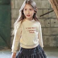 2018秋冬季韩版童装女童卫衣加厚加绒字母绒衫上衣新款中大童外套