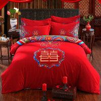 绣花夫人新婚结婚庆床品加厚磨毛四件套件大红床上用品