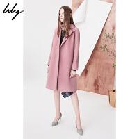 Lily2018秋新款女装商务纯色收腰系带中长款呢大衣118110F1230