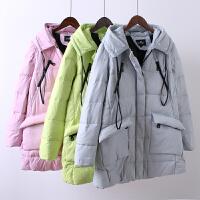 O5羽绒服女装中长款宽松加厚连帽大码学生韩版显瘦新冬装1.05