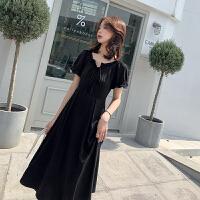 大码女装2019新款法国小众连衣裙洋气显瘦气质胖妹妹mm夏装法式遮肚藏肉小黑裙