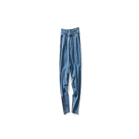 男装牛仔裤美式休闲复古彩色绣花牛仔裤拼色九分裤 浅蓝