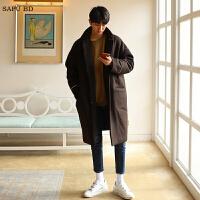 冬季新款羊绒大衣男中长款青年韩版落肩毛呢大衣男风衣呢子外套潮