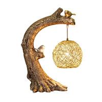 创意新中式台灯装饰客厅书房卧室床头灯温馨暖光复古艺术禅意台灯 按钮开关