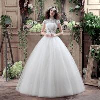 天使齐地婚纱韩式婚纱蕾丝婚纱修身显瘦婚纱新娘婚纱礼服新款 007米白色