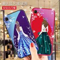 免邮 OPPO R9 R11手机壳 手机套 镶钻蓝光玻璃壳 全包保护壳 背景女孩 R9 R9S R9Splus A77