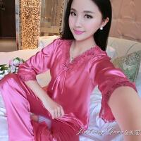春秋丝绸睡衣女夏季长袖套装性感两件套装刺绣加大码真丝质家居服