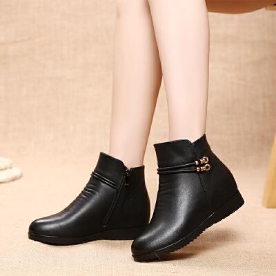 冬天妈妈鞋棉鞋平底加绒保暖大码短靴子中老年皮鞋秋季女鞋子百搭