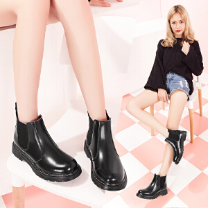 【毅雅】靴子女冬秋冬季女鞋保暖加绒马丁靴英伦风切尔西短靴棉靴