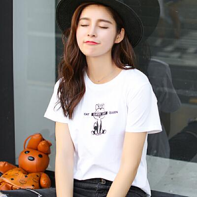 夏季新品韩版百搭圆领字母猫咪绣花棉短袖T恤女装上衣潮