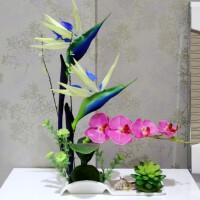 仿真花套装天堂鸟蝴蝶兰假花绢花装饰花客厅卧室办公室欧式盆栽