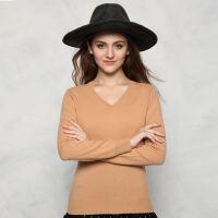 2017秋冬新款山羊绒衫女士打底衫V领长袖修身显瘦套头针织衫毛衣