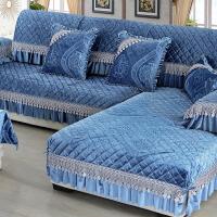 冬季毛绒沙发垫防滑坐垫全盖欧式布艺沙发套罩巾全包�f能套 暖绒 蓝色