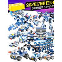 倍奇儿童legao积木拼装玩具益智6-7-8-10岁男孩子3智力警察组装车