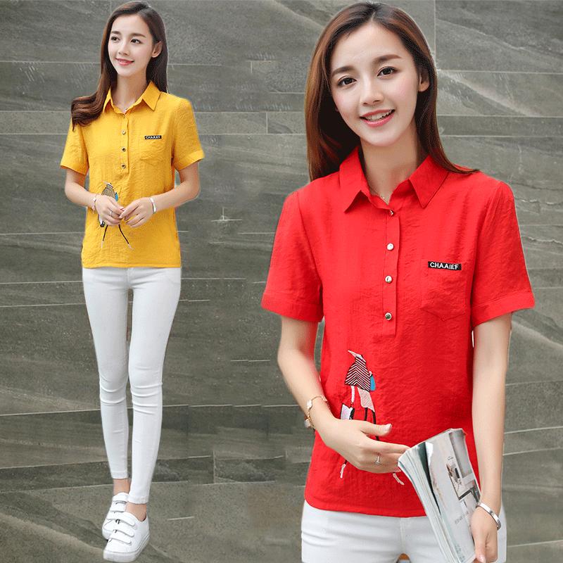 花棉麻短袖T恤女装夏季新款修身薄款休闲百搭衬衫