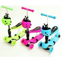 滑板车 童车 三合一米高滑板车 儿童闪光可升降带座椅带车篮