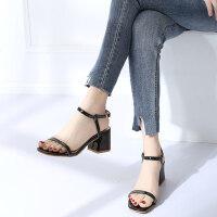 性感粗跟高跟鞋凉鞋女夏中跟韩版仙女鞋露趾一字扣带罗马鞋