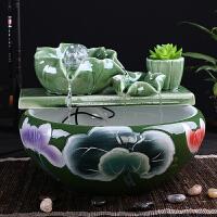 陶瓷流水喷泉摆件生财养鱼缸桌面摆件风水球轮卧室书房创意 荷风送爽1 默认