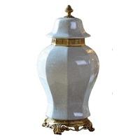 家居饰品摆件软装饰品铜配瓷铜装饰将军罐陶瓷青花罐