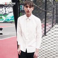 viishow春装新款长袖衬衫 欧美简约衬衫男长袖 修身型白衬衣